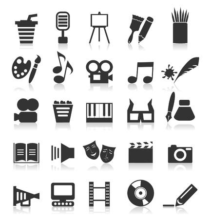 Set von Icons auf einem Thema Kunst. Ein Vektor-Illustration