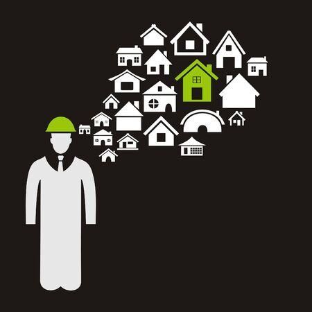 The builder thinks of houses. A vector illustration Stock Vector - 16264362