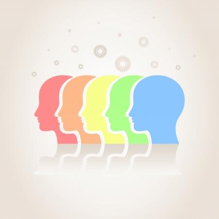 psicologia: Cinco cabeza en un fondo gris. Una ilustración vectorial