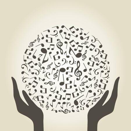 fender: Hands hold a musical sphere. A vector illustration Illustration