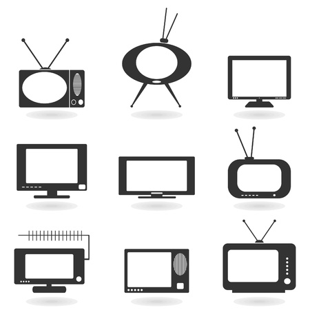 mouth screen: Set of icons of the TV. A vector illustration Illustration