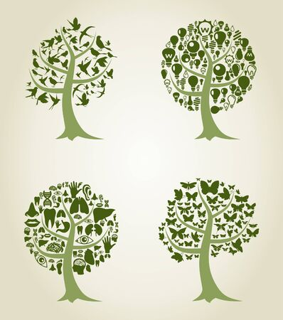 Silhouettes of trees on a white background. A vector illustration Vector