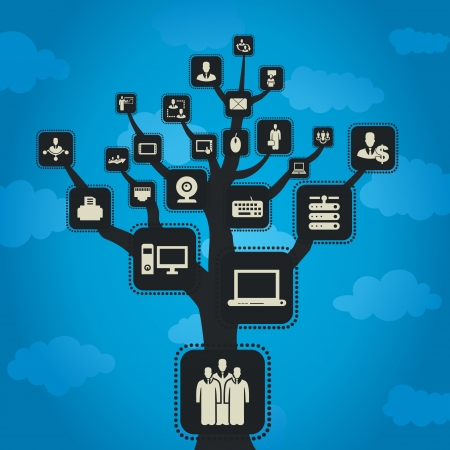 knowledge tree: On a tree grow the computer. A vector illustration Illustration