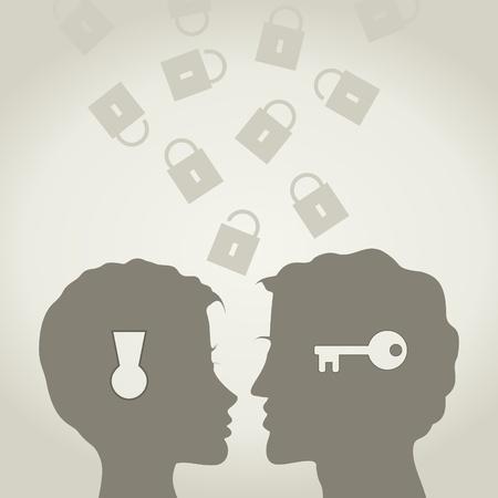 beso labios: El chico y la chica de la cerradura y una llave Una ilustración vectorial
