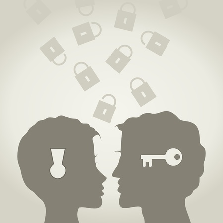 lips kiss: The guy and the girl the lock and a key  A vector illustration Illustration