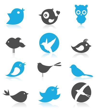 birdie: Set of small cheerful birdies  A illustration