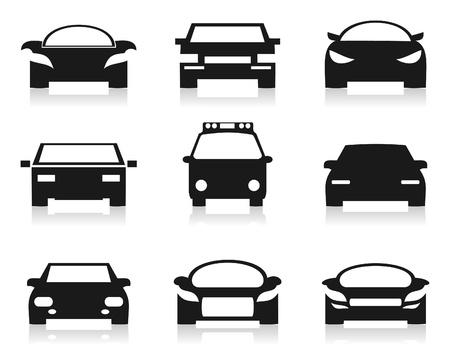 silhouette voiture: Ensemble d'icônes de voitures Une illustration