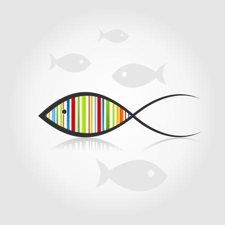 aqu�rio: Pescar um arco-�ris em uma ilustra��o de fundo cinza