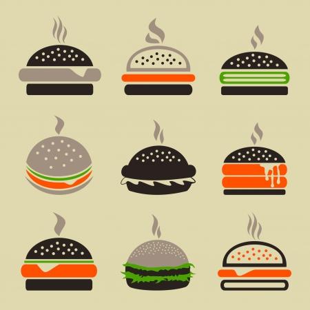 HAMBURGESA: Conjunto de iconos de una hamburguesa Una ilustraci�n