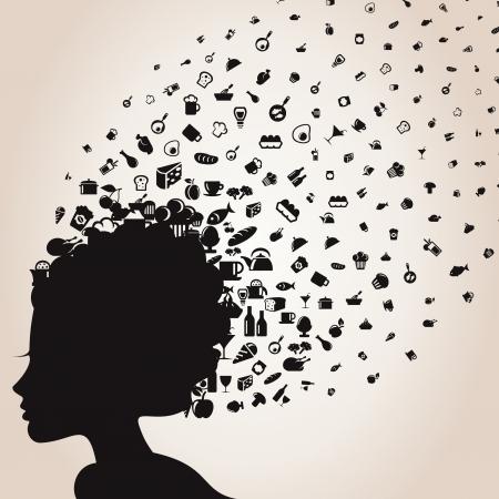 wijn en spijzen: Het meisje een hoofd vliegt een levensmiddel illustratie
