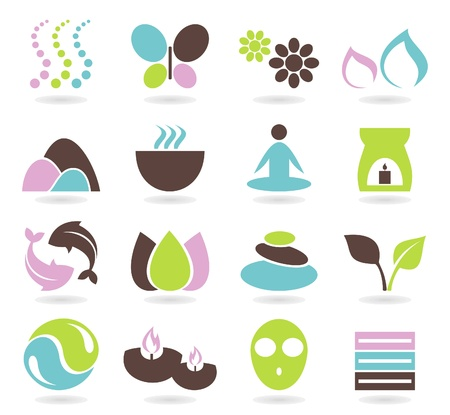 spa candles: Set of icons on a theme spa  A illustration