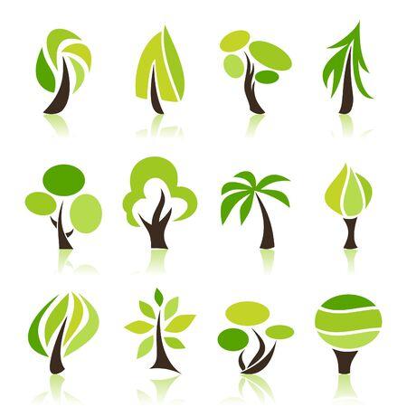 aspen: Set of icons of trees   illustration