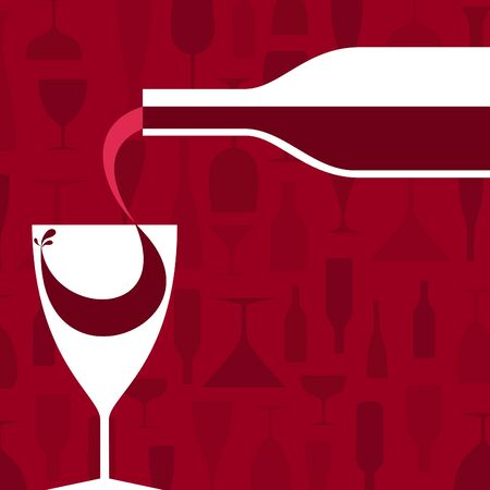 Wine pour in a glass  A illustration Vector
