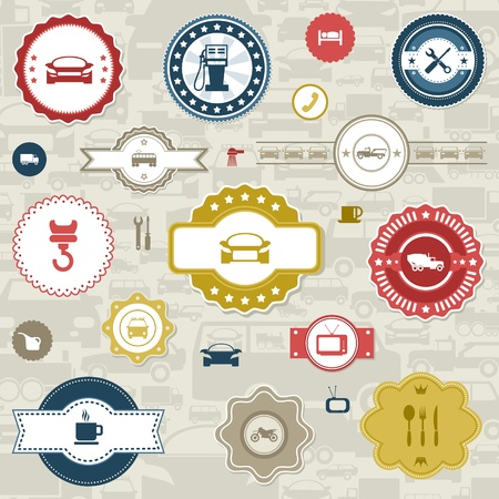 utilities: Set of labels the car and transport   illustration