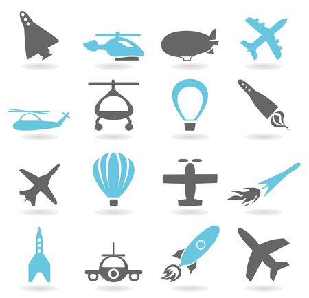 Collection of icons on a theme aircraft A vector illustration
