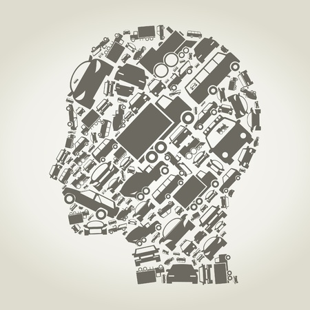 Head of the person made of cars  A vector illustration Vector