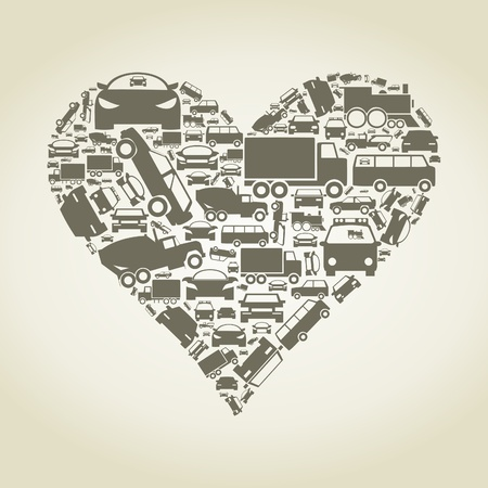 Heart made of cars  A vector illustration Vector