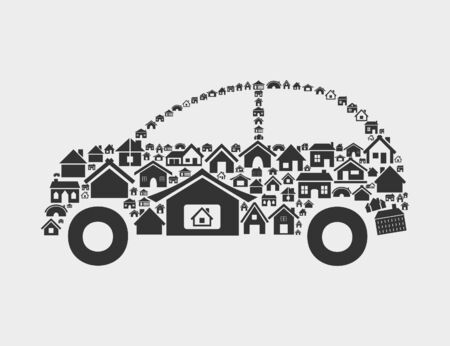 The car made of houses  A vector illustration Stock Vector - 16596587