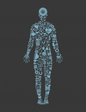 The person made of objects of science A vector illustration