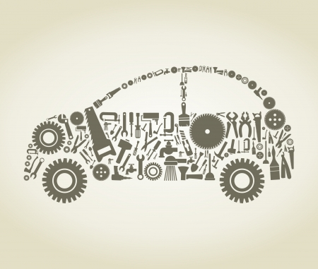 vice: The car made of the tool Illustration