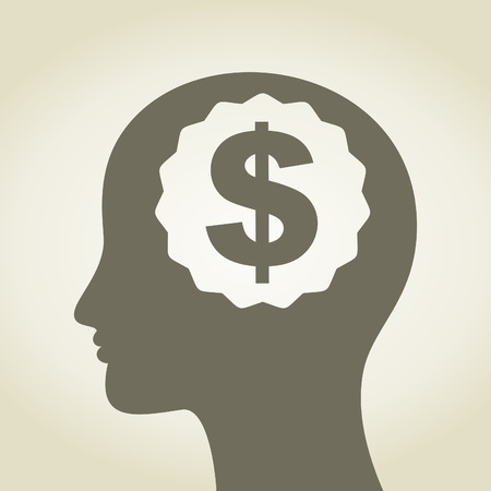 Head of the person with dollar in a brain  A vector illustration Stock Vector - 16724715