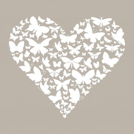 Heart made of butterflies  A vector illustration Vector