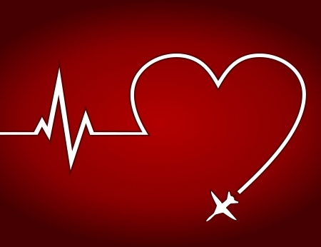 commercial medicine: Trace from the plane in the form of heart  A vector illustration