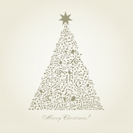 christmas music: Christmas tree made of notes  A vector illustration Illustration