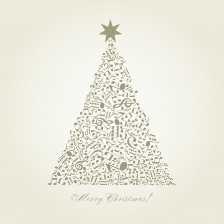 music design: �rbol de navidad hecho de notas Una ilustraci�n vectorial