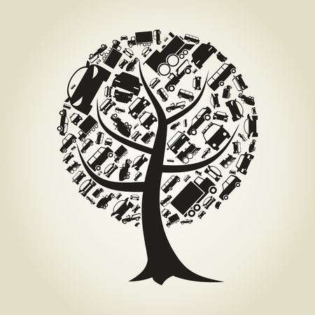 Tree made of cars  A vector illustration Vector