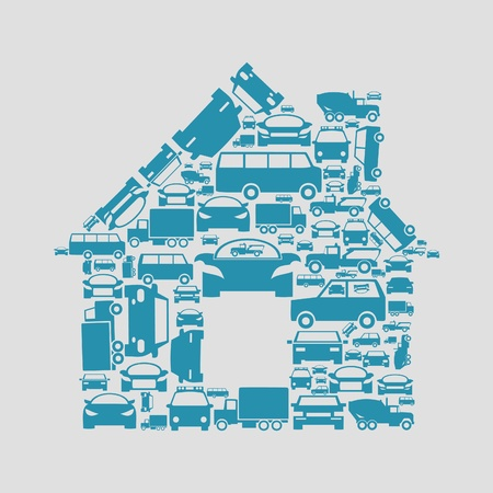 The house made of cars   Vector
