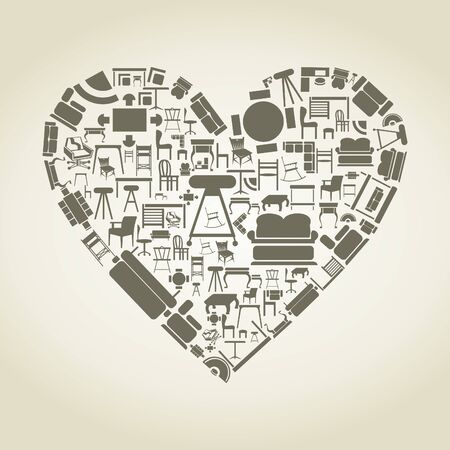 Heart made of furniture Stock Vector - 16886024
