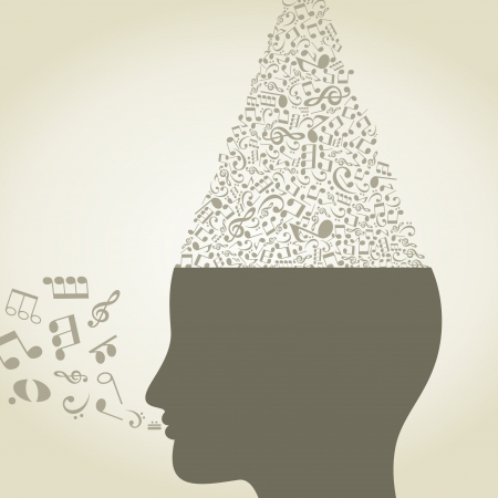 religious music: The musical note in a head  Illustration
