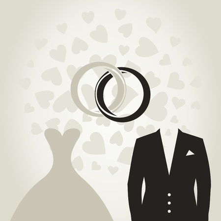 dress suit: Wedding dress and suit