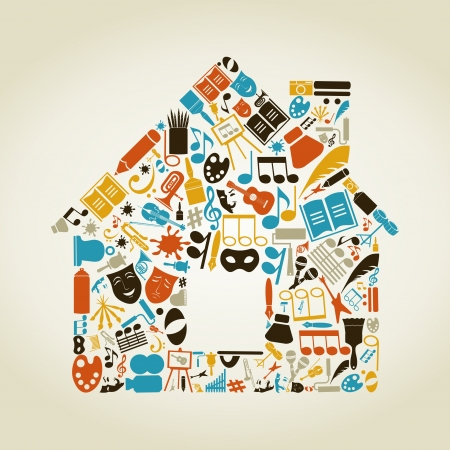 The house made of art. A vector illustration Vector