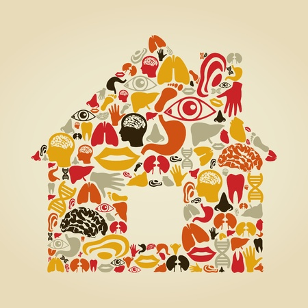 The house made of body parts. A vector illustration Stock Vector - 16985805