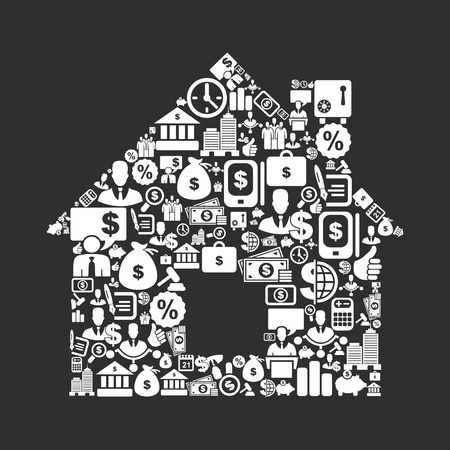 The house made of business. A vector illustration Stock Vector - 16985780