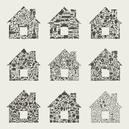 Collection of houses for design. A vector illustration Stock Vector - 16985793