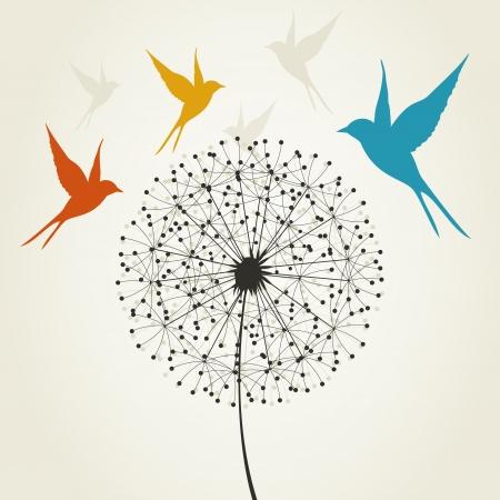 Vögel fliegen rund ein Löwenzahn. Ein Vektor-Illustration