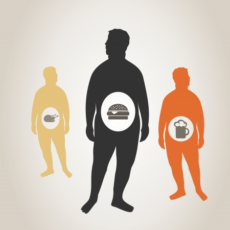 adiposity: The thick person eats fat food. A vector illustration Illustration