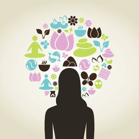 spa subjects round the woman  A vector illustration Illustration