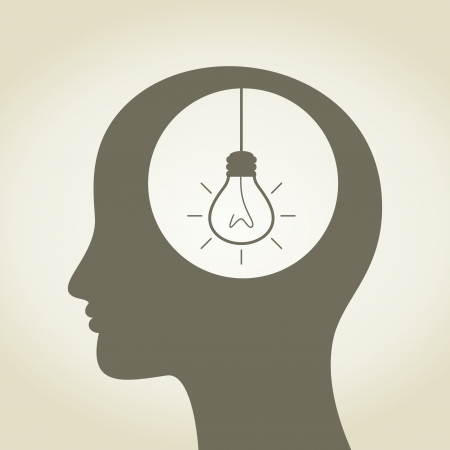 The head of the person thinks idea  A vector illustration Stock Vector - 16985751