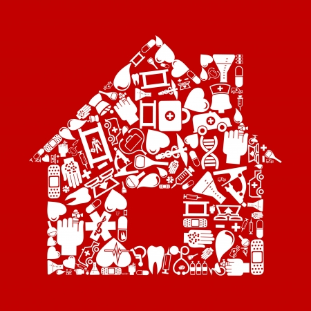 bandaging: The house made of medicine  A vector illustration