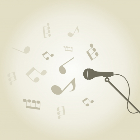 From a microphone there is a sound of notes  A vector illustration Stock Vector - 16985753
