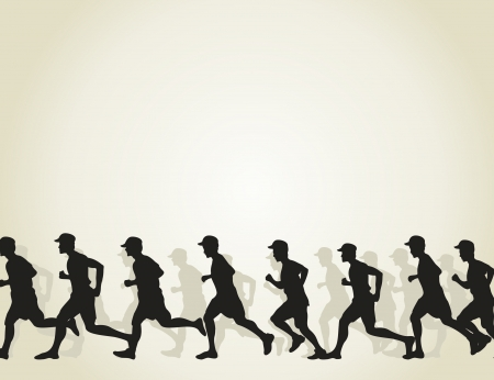 runs: The group of runners runs  A vector illustration