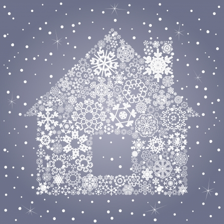 The house made of snowflakes  A vector illustration Stock Vector - 16985796