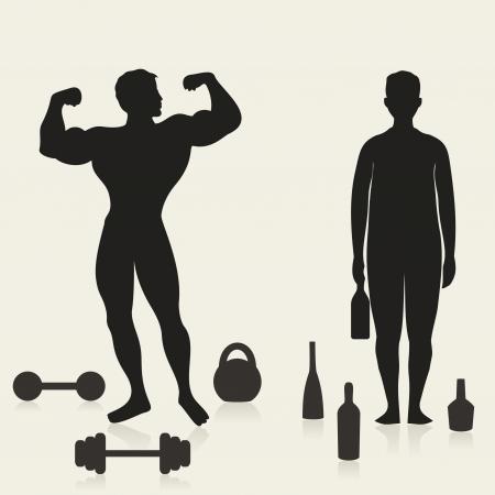 alcoholist: De sportman en de alcoholische in vergelijking Een vector illustratie