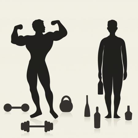 alcoholic man: The sportsman and the alcoholic in comparison  A vector illustration