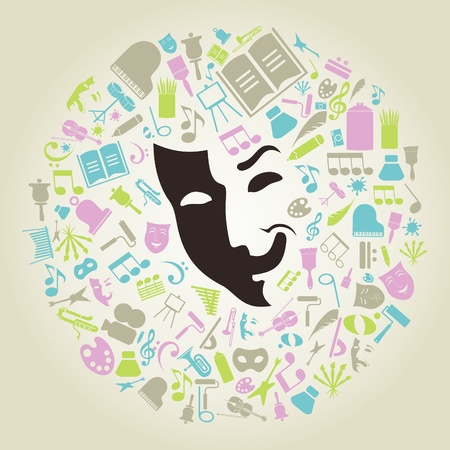Subjects of art round a mask    Vector