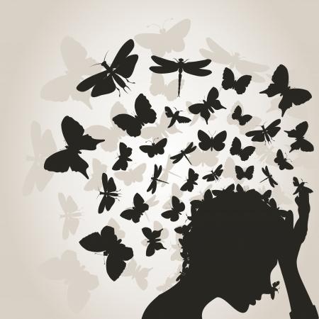 femme papillon: De la t�te de la jeune fille le papillon vole